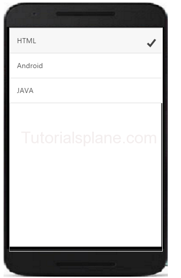 Ionic Radio Button | Example | checked | List | Demo | Online