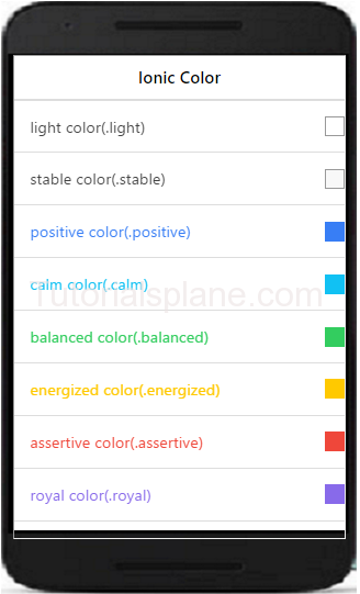 Ionic colors example