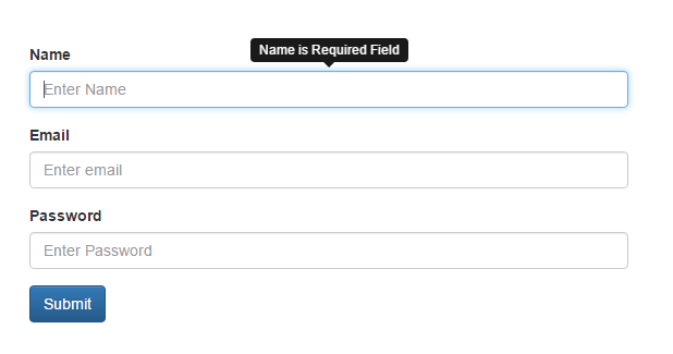 Bootstrap Tooltip on input field elements